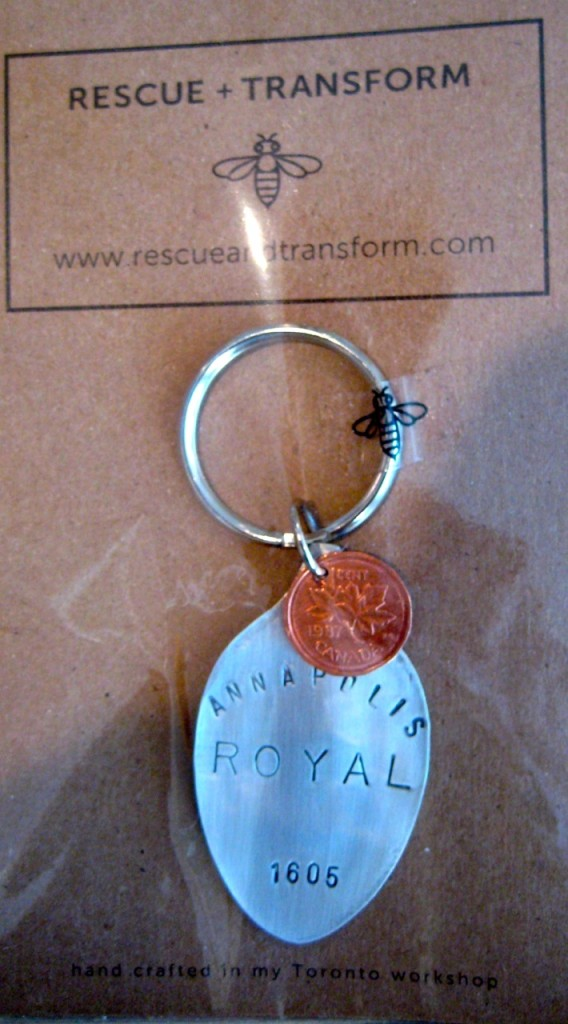 The Story of Us! Annapolis Royal 1605 key chains. Founded 3 years before Quebec City! Made especially for us. $18.95