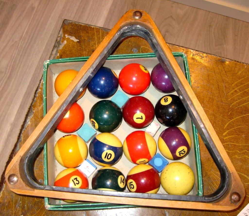 Vintage Belgian billiard balls. 1950s. Original box. With wooden rack. $110