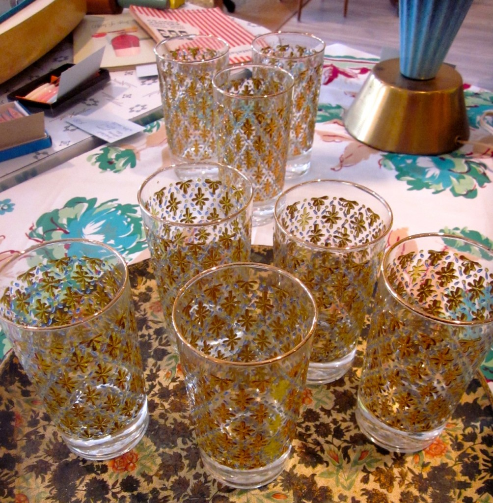 Beautiful beaded glass on glass drinks glasses. Heavy. Your summer drinks never tasted so good! $50 set