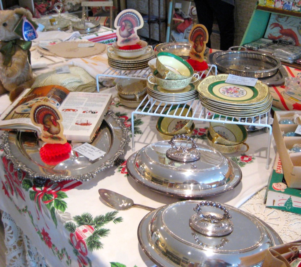 Silver plate turkey platter $40 VArious servers and trays and cream soup sets