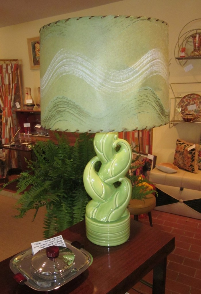 "Fabulous 40s or early 50s ""leaf lamp"" with original wiring. Vintage fibre glass shade. ($195)"