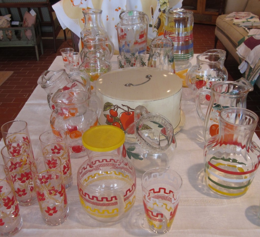 Juice pitchers ($15-20) and glasses sets ($10-20)  Cake carrier ($20)