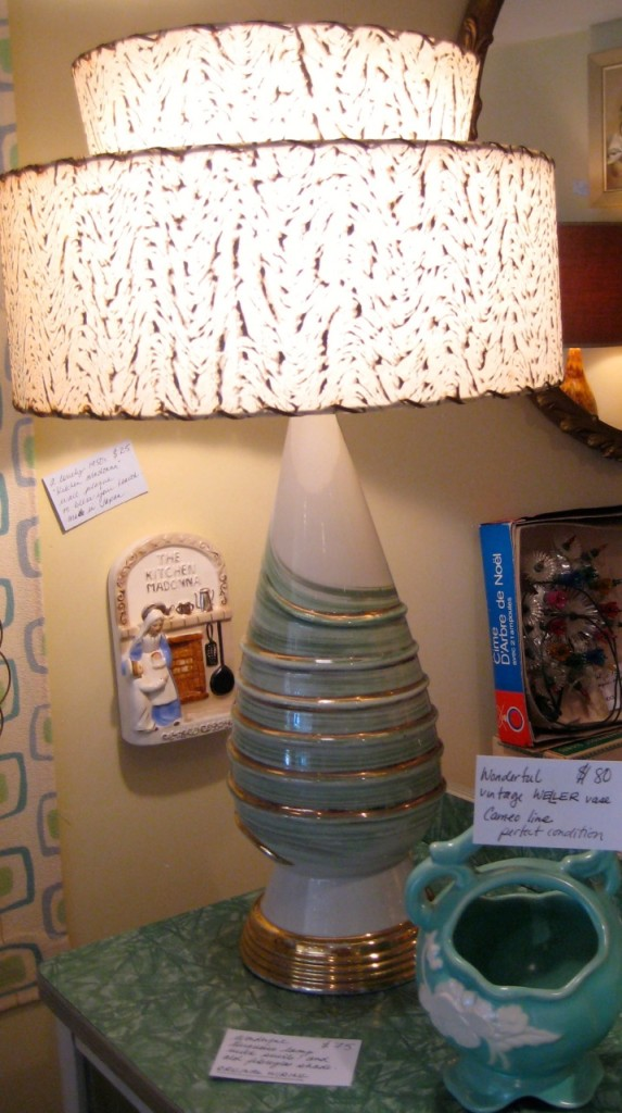 Green and cream swirl lamp with original fibreglass shade. $75