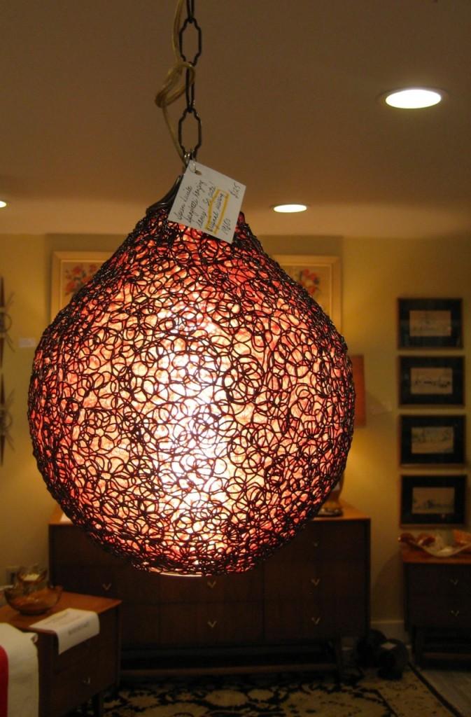 Fab spun lucite spaghetti ceiling fixture. Long chain, original wiring. Red! $125