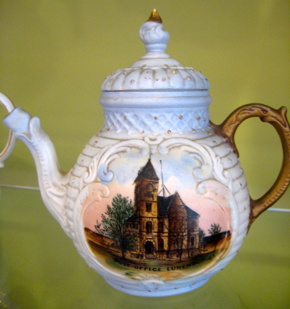Tiny teapot with Lunenburg Post Office transfer. $35