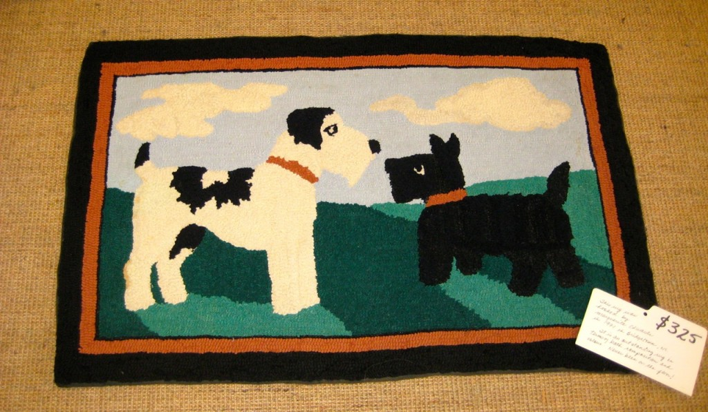 Scottie hooked rug. Beautifully hooked om 1971.  22 x 36 inches $325