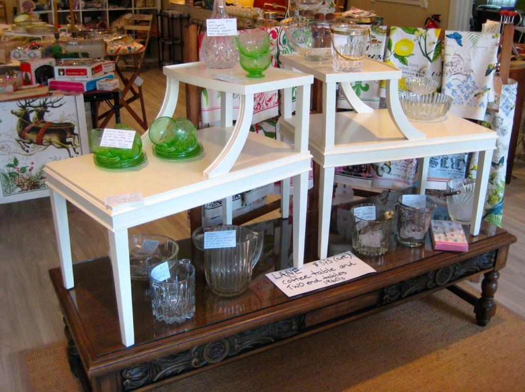 Repainted mahogany step-up tables. $325/pair