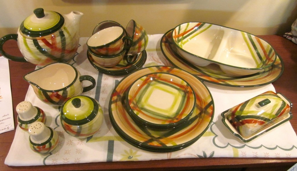"""Tam O'Shanter"" Dinnerware. 1949-1958. Set for four. Teapot, cream and sugar, butter, platter, vegetable dish, salt and pepper, four cups and saucers, four bread and butter plates, four dinner plates. $225. Extra plates sold separately."