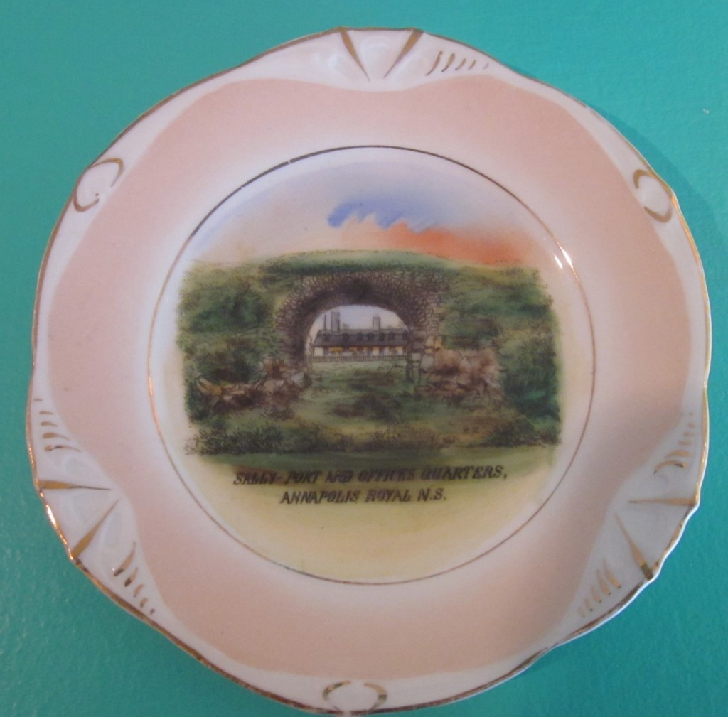 Sally Port and Officer's quarters. Fort Anne, Annapolis Royal. Lovely old transfer plate ($35.)