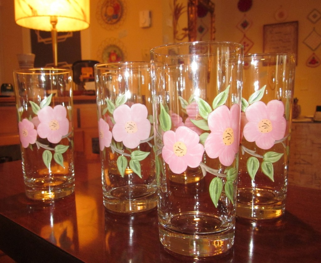 "Six pretty  ""Desert Rose"" glasses. ($60)"