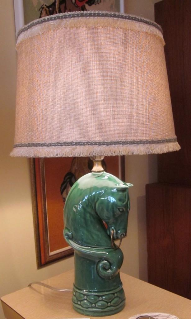 Green horse lamp ($110).