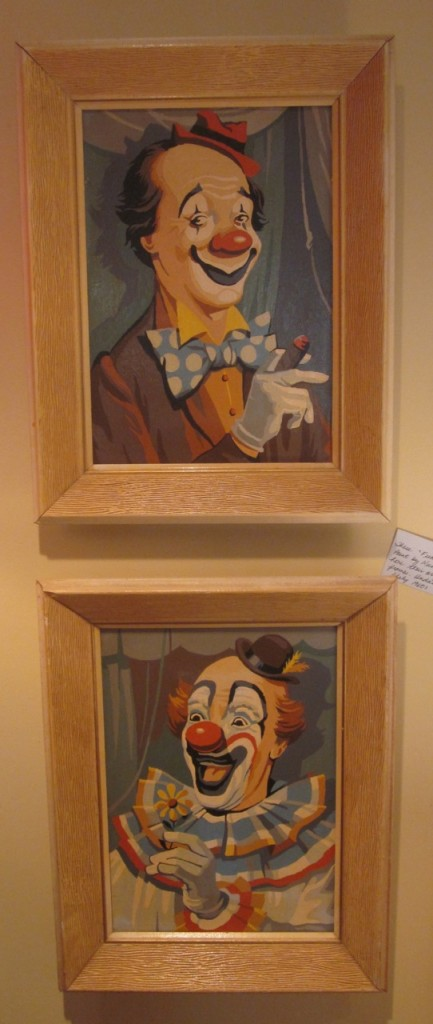 "Pair of clown paint by numbers called ""Funny Fellows"" in original frames  ($75 - pair)"