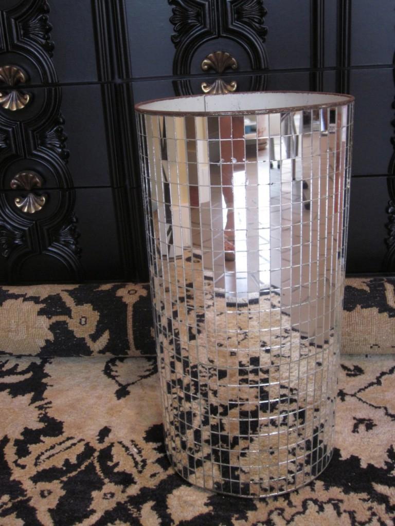 Hollywood Regency mirrored umbrella stand ($195)