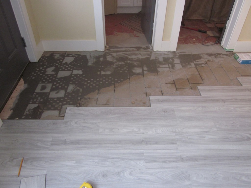 Last of the old tile to be covered.