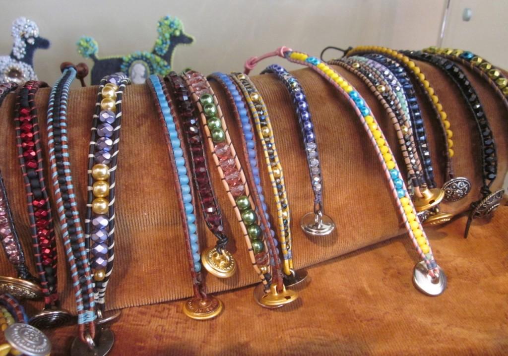 Single wrap bracelets. $55 each. Poodles brooches $150 each.