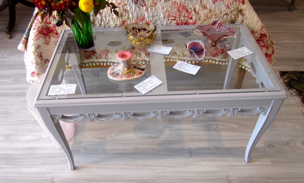 Tasseled coffee table after painting. $115