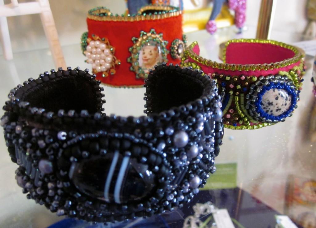 Cuff bracelets.  Black cuff $225, Clown cuff $170. Agate cuff $190.