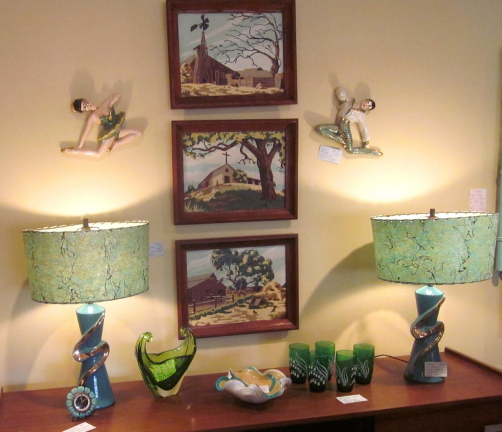 Turquoise lamps at Mrs. Nicholson Home.
