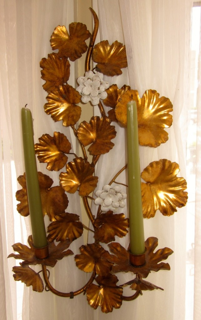 Italian metal sconce with white painted flowers $145.