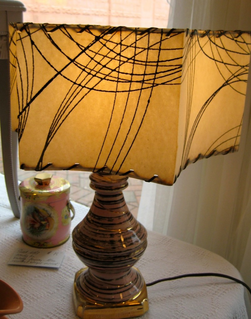 Pinky and gold swirly lamp with original fibreglass shaw ($95).