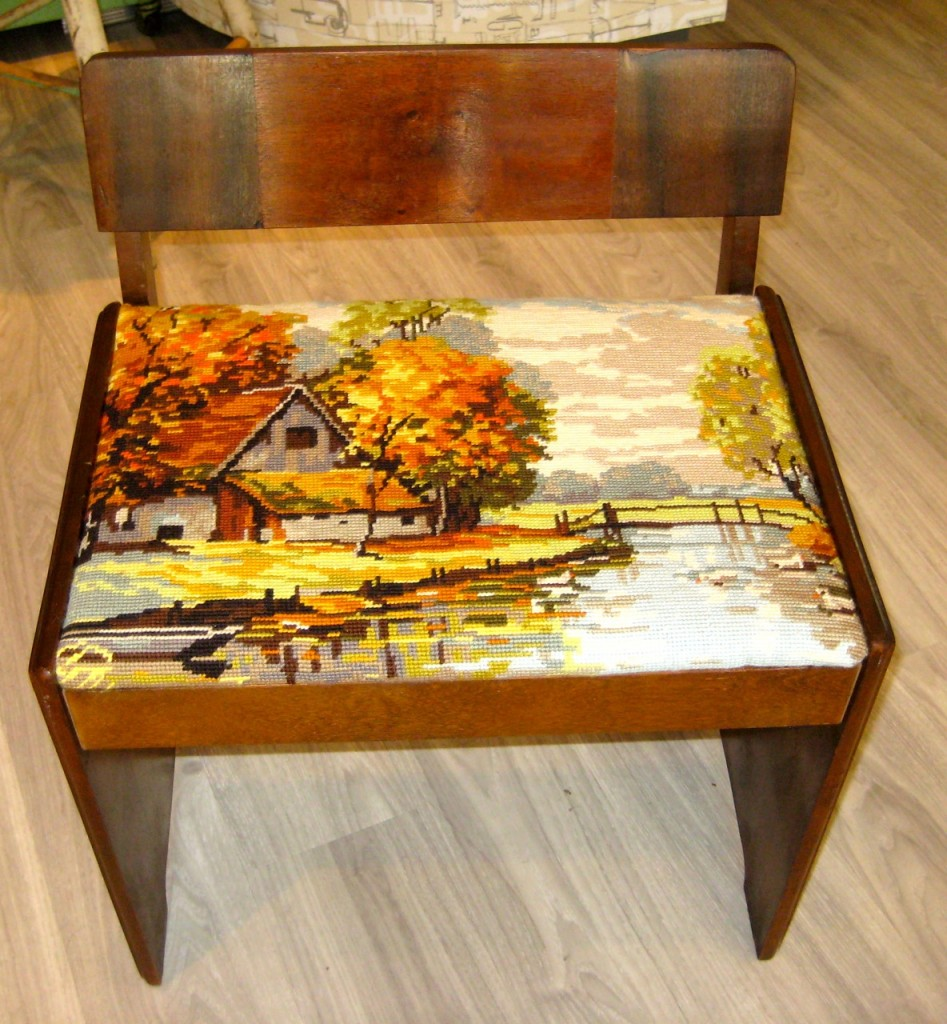 Vanity bench cleaned and newly upholstered with a vintage French needlepoint. $95