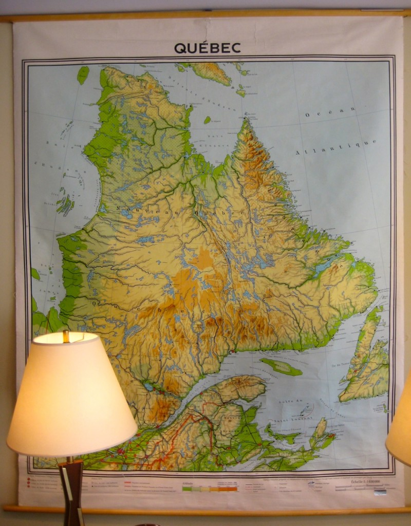 Vintage school map of the province of Quebec. $95