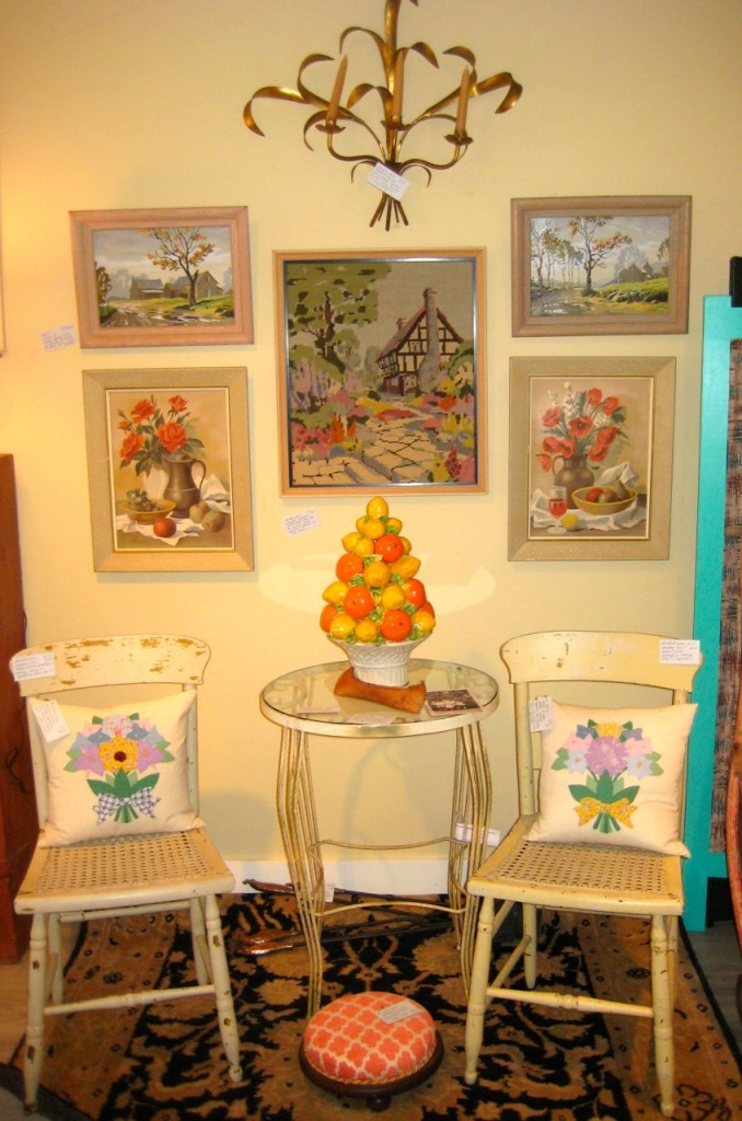 Glass-topped table $225 Pair of shabby-chic $40 each Wonderful lemon and lime centrepiece (Italian) $225 Cottage needlepoint $50 Still life Paint-by-Numbers $60 (pair) Buildings Paint-by-Numbers $40 (pair)