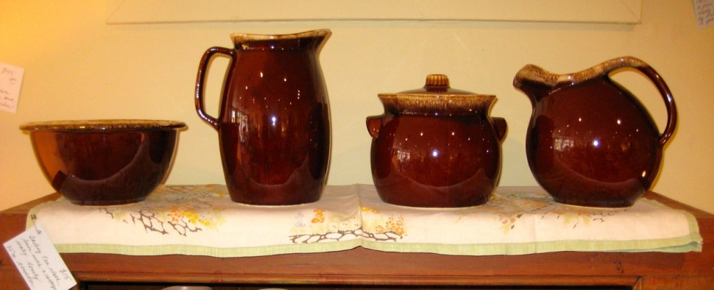 Set of three nesting bowls $20 Large pitcher $25 Bean crock $25 Ball pitcher with ice guard $25