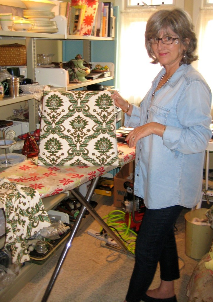 Jane working on the new seat covers.