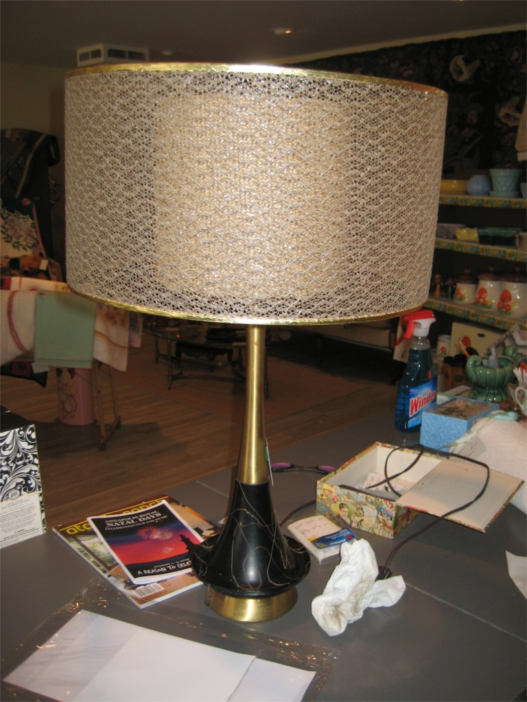 Black lamps with mesh shades in the store.