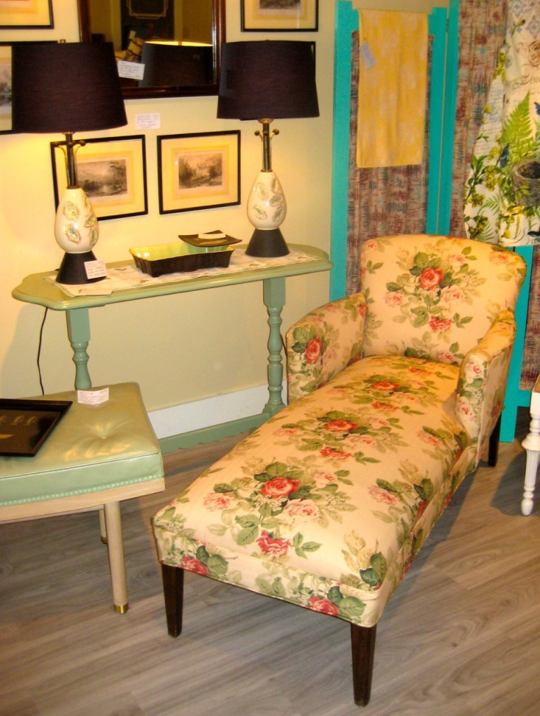 Delightful ladies chaise longue - newly upholstered. $475