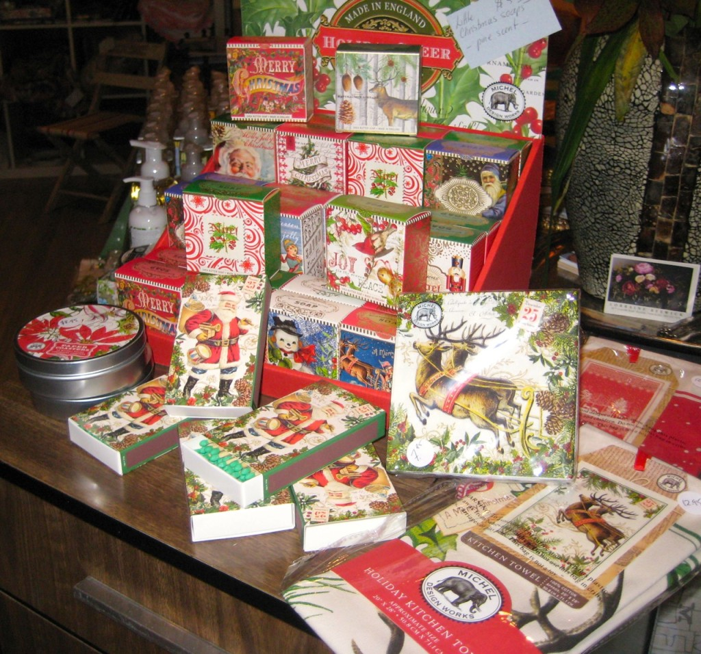 Michel Design Works Christmas soaps, coasters, napkins and tea towels.