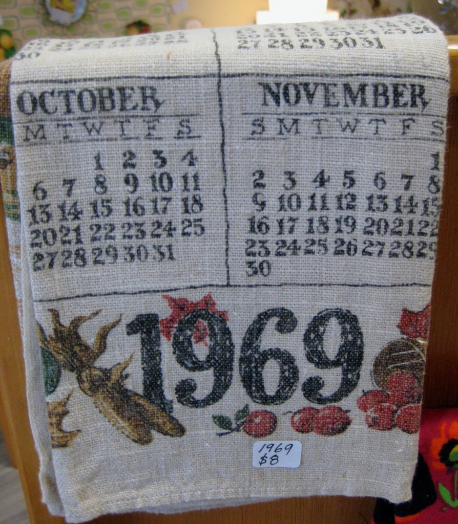 Calendar tea towel 1969 $8
