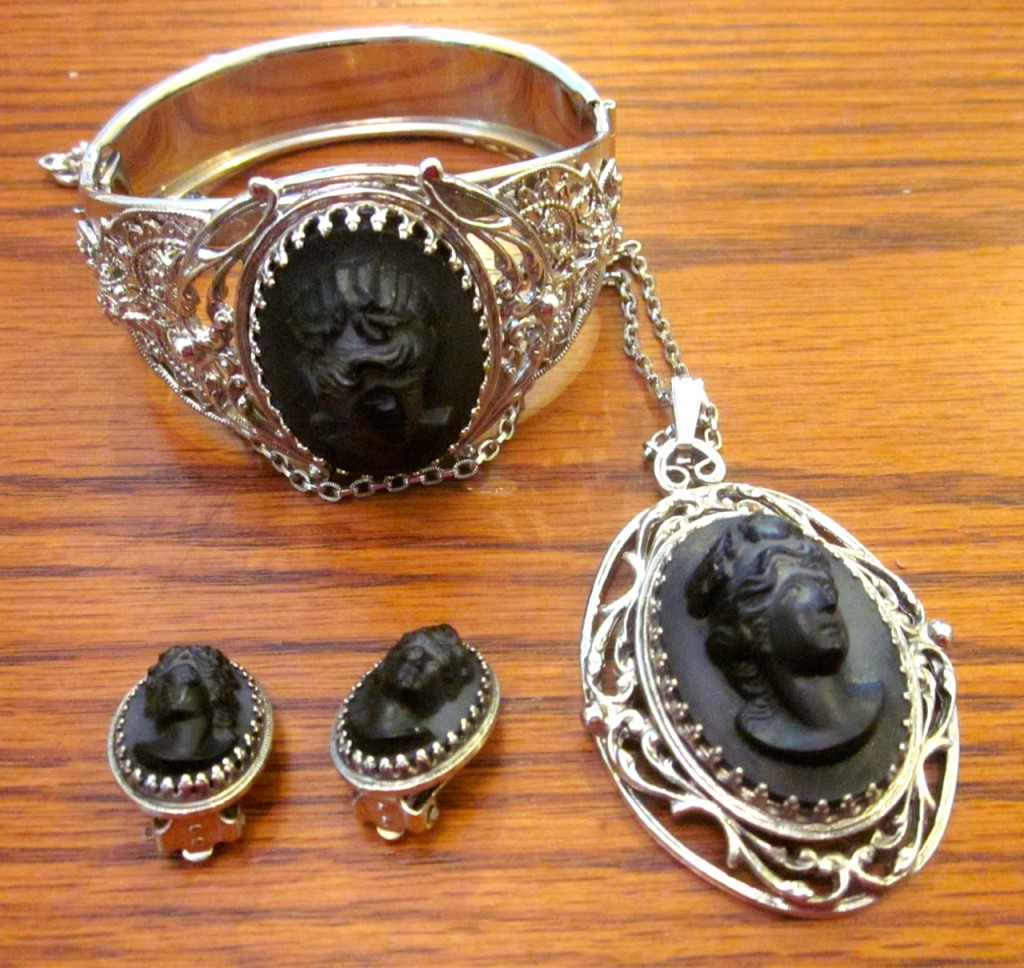 Lovely black stone vintage cameo set. Whiting and Davis $150 bracelet with safety chain, necklace and clip-on earrings.