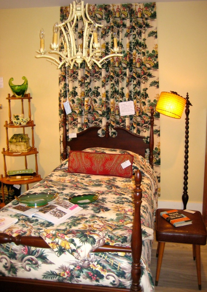 "Stunningly beautiful vintage barkcloth curtains and bedspread.  There are two lined curtain panels with French pleats and a single bed coverlet.  Strong vibrant colours and gorgeous condition. $325 for the set 1950s ""Chinese Chippendale"" metal chandelier in faux bamboo. $425 Mahogany bed $195."