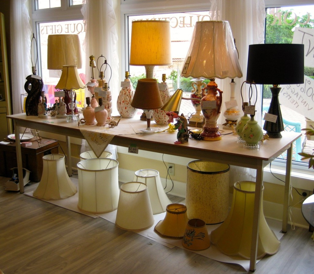 Lamps and lampshades to go. All half price.  Lampshades are $2. Lamps are various prices.
