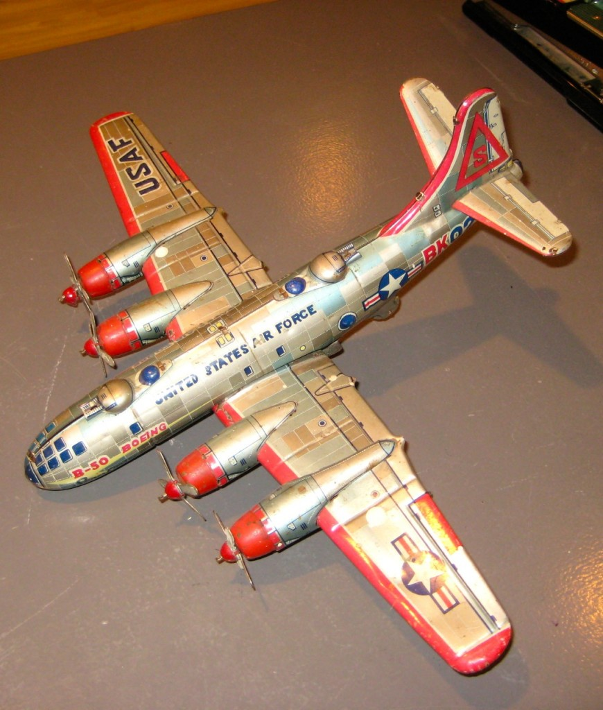 Vintage Yonezawa BK027 metal model airplane. 1940s. Excellent condition. All original. Missing front wheel. $175