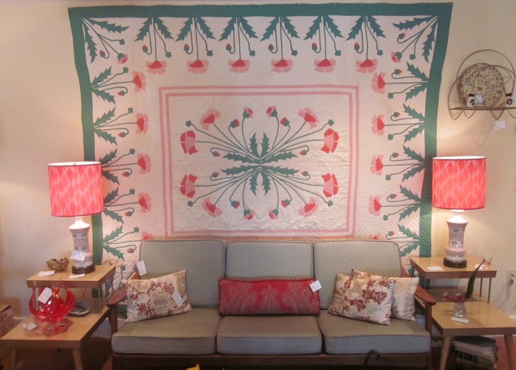 Marie Webster designed Poppy appliqued quilt.  Excellent condition ($850) Fabulous teak sofa with original cushions ($900) pair of 1960s pink porcelain lamps with new shades made by Jane ($275/pair)