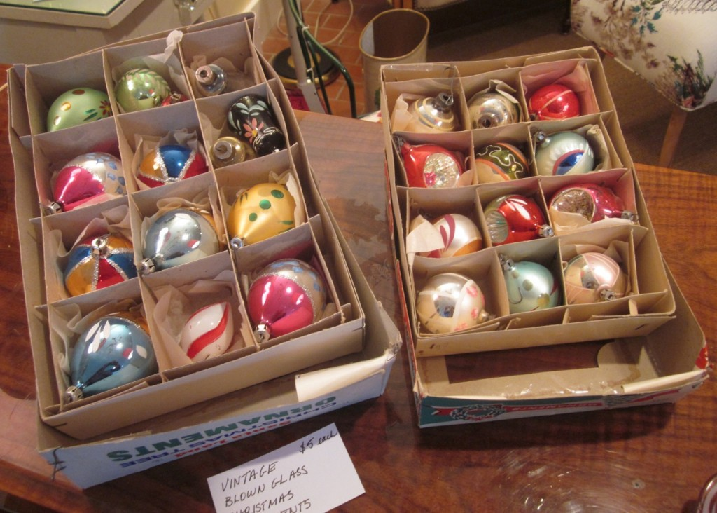Vintage Christmas ballies ($5 each).
