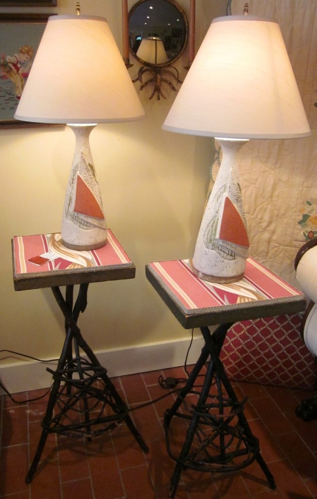 """Pair of Mi'kmaq twig tables with """"new"""" vintage barkcloth tops ($275 - pair). Lovely pair of vintage chalk ware lamps with new shades. Original wiring ($225 - pair)."""