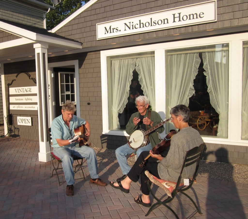 Jim Todd, Geoff Keymer and Alexa Jaffurs playing outside at Mrs. Nicholson Home on a First Friday in 2012.