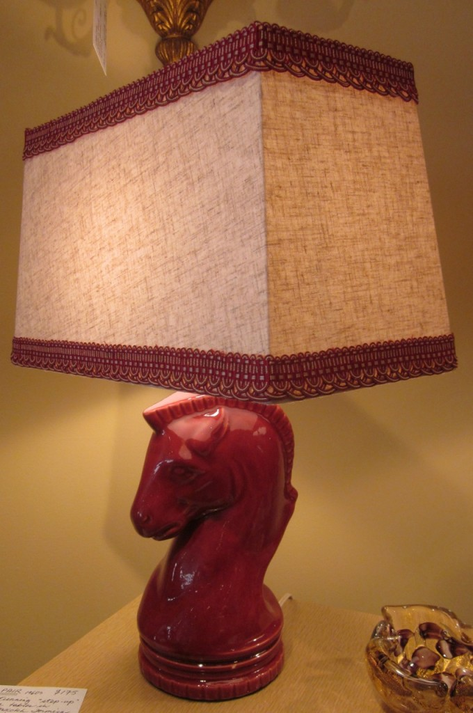 Raspberry ceramic horse lamp ($195).