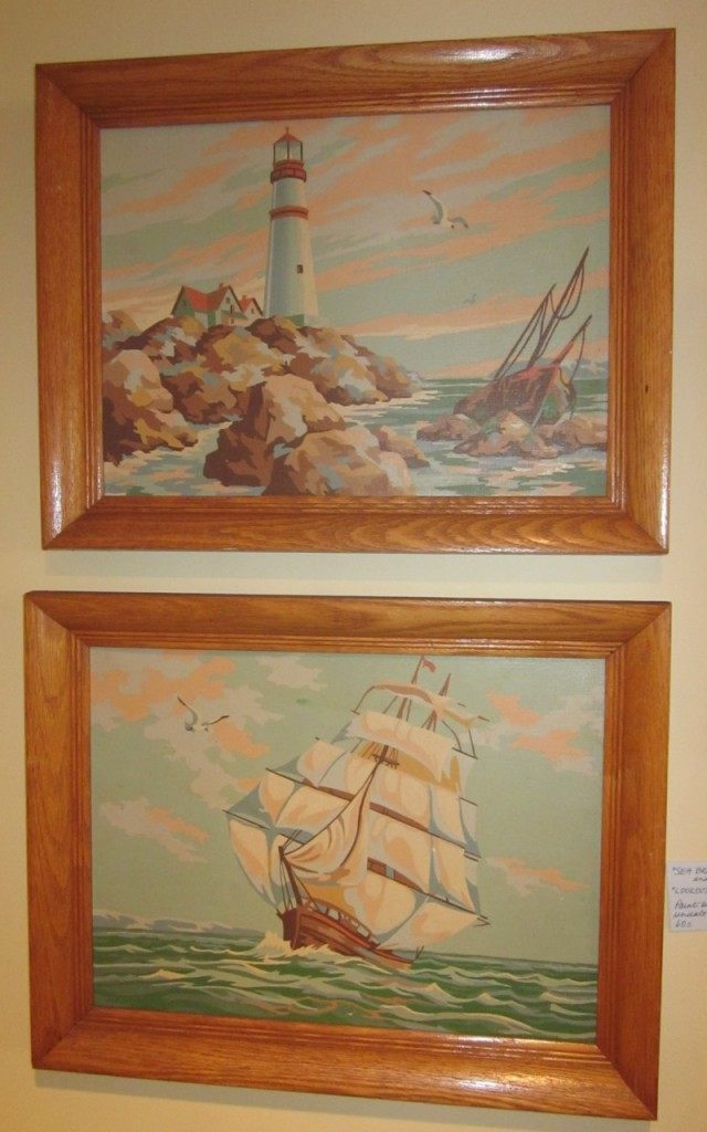 """""""Sea breezes"""" and """"Lookout Point"""" paint by number pair in original frames ($35)."""