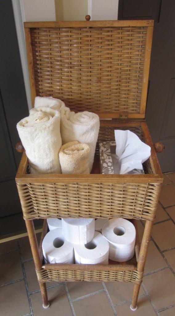 Vintage sewing basket transformed as a practical bathroom caddy ($175).