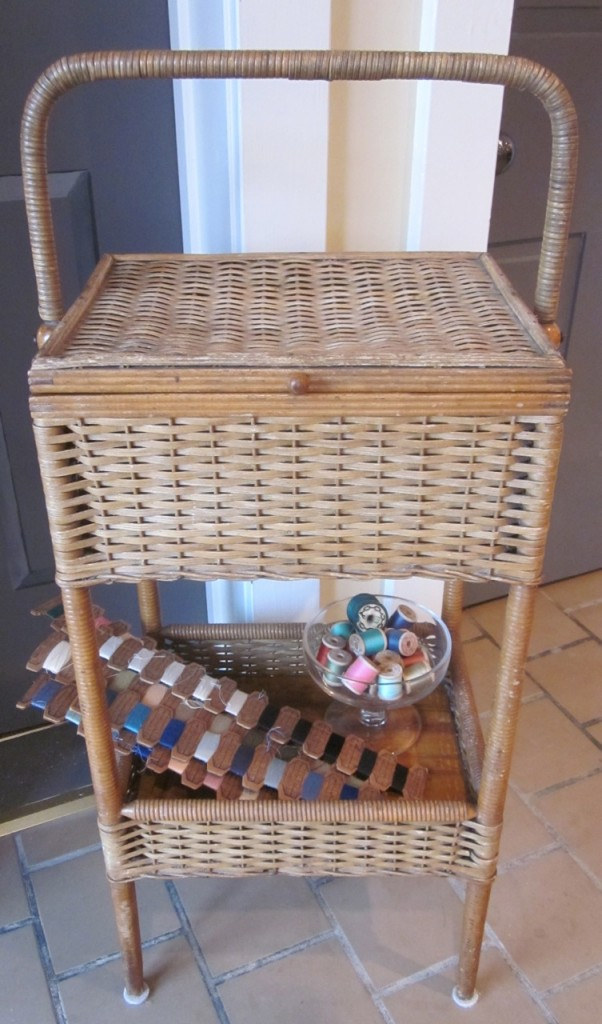 Vintage sewing box being used as a sewing box!
