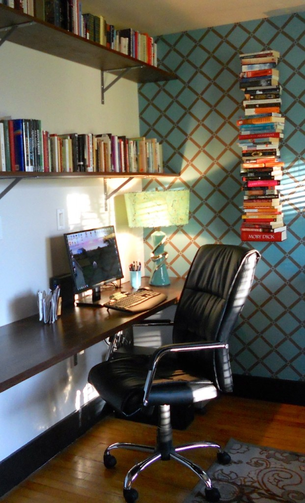 The turquoise lamps in their new home with Sheila.