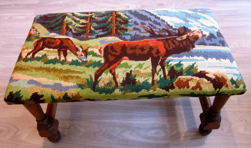 """Buck and the girls"" footstool. $85"