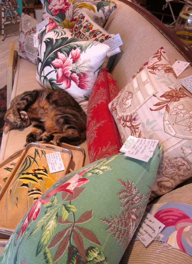 Lovely vintage barkcloth cushions with new feather inserts. $35 to $100.