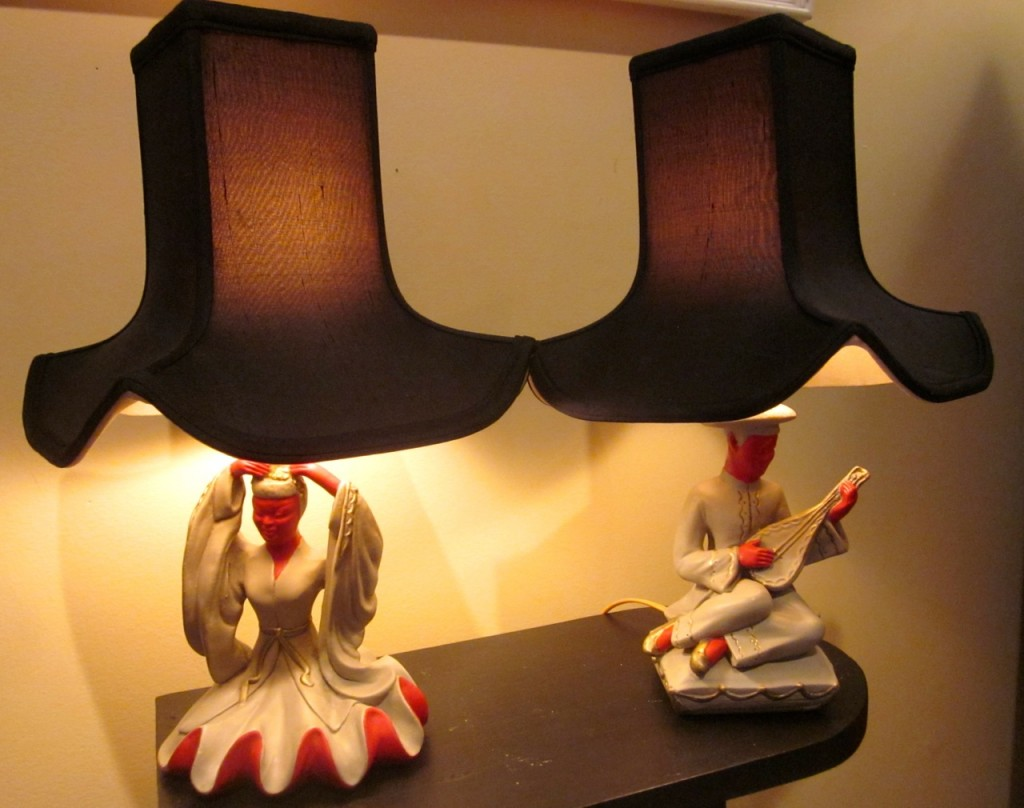 Oriental lady and man lamps. $195