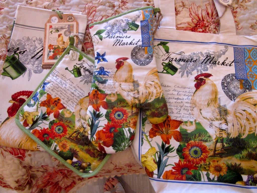 Farmers Market collection: Tea towel $12.95, pot holder $9.95, oven mitt $12.95, market bag $13.95